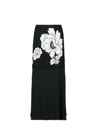 schwarzer Midirock mit Blumenmuster von Boutique Moschino