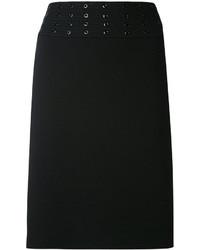 schwarzer Minirock mit Lochstickerei von Emilio Pucci