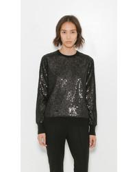 schwarzer Paillette Pullover mit einem Rundhalsausschnitt