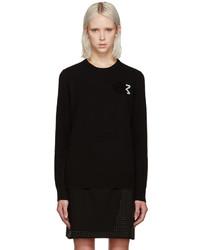 schwarzer Pailletten Pullover mit einem Rundhalsausschnitt von Christopher Kane