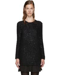 schwarzer Pailletten Pullover mit einem Rundhalsausschnitt von Saint Laurent