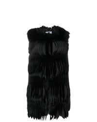 schwarzer Pelz ärmelloser Mantel von Blumarine