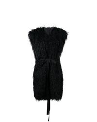 schwarzer Pelz ärmelloser Mantel von MM6 MAISON MARGIELA