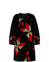 schwarzer Pelz mit geometrischem Muster von Isabel Marant