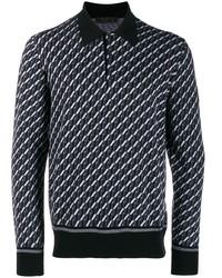 schwarzer Polo Pullover mit geometrischem Muster von Prada