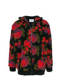 schwarzer Pullover mit einem Kapuze mit Blumenmuster