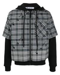 schwarzer Pullover mit einem Kapuze mit Schottenmuster von Off-White