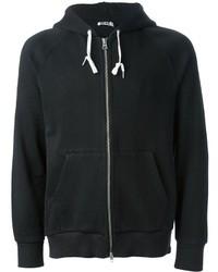 schwarzer Pullover mit einem Kapuze