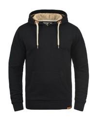 schwarzer Pullover mit einem Kapuze von Solid