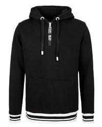 schwarzer Pullover mit einem Kapuze von Sublevel