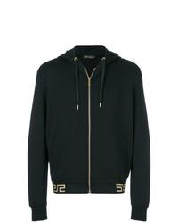 schwarzer Pullover mit einem Kapuze von Versace