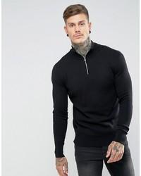 schwarzer Pullover mit einem Reißverschluss am Kragen von ASOS DESIGN