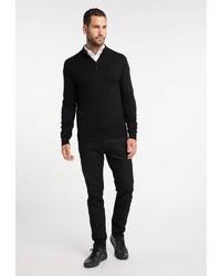 schwarzer Pullover mit einem Reißverschluss am Kragen von Dreimaster