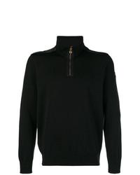 schwarzer Pullover mit einem Reißverschluss am Kragen von Paul & Shark
