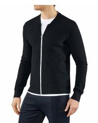schwarzer Pullover mit einem Reißverschluß von Falke