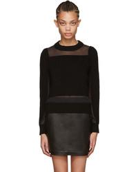 schwarzer Pullover mit einem Rundhalsausschnitt aus Netzstoff von Rag & Bone
