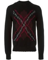 schwarzer Pullover mit einem Rundhalsausschnitt mit Argyle-Muster