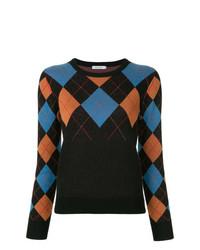 schwarzer Pullover mit einem Rundhalsausschnitt mit Argyle-Muster von GUILD PRIME
