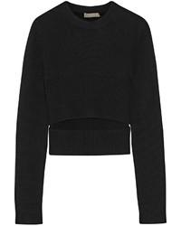 schwarzer Pullover mit einem Rundhalsausschnitt mit Ausschnitten