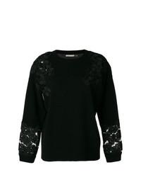 schwarzer Pullover mit einem Rundhalsausschnitt mit Blumenmuster von Alice + Olivia