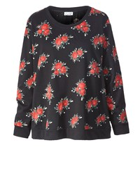 schwarzer Pullover mit einem Rundhalsausschnitt mit Blumenmuster von Angel of Style by Happy Size