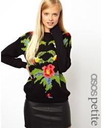 schwarzer Pullover mit einem Rundhalsausschnitt mit Blumenmuster von Asos