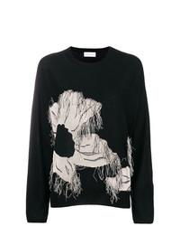 schwarzer Pullover mit einem Rundhalsausschnitt mit Blumenmuster von Christian Wijnants