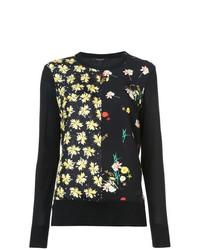 schwarzer Pullover mit einem Rundhalsausschnitt mit Blumenmuster von Derek Lam