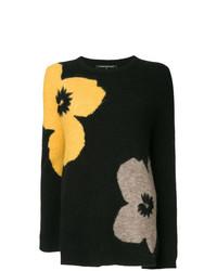 schwarzer Pullover mit einem Rundhalsausschnitt mit Blumenmuster von Luisa Cerano