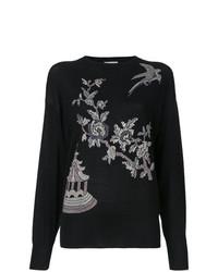 schwarzer Pullover mit einem Rundhalsausschnitt mit Blumenmuster von MS MIN