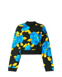 schwarzer Pullover mit einem Rundhalsausschnitt mit Blumenmuster von MSGM
