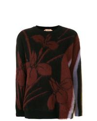 schwarzer Pullover mit einem Rundhalsausschnitt mit Blumenmuster von N°21