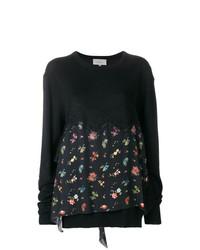schwarzer Pullover mit einem Rundhalsausschnitt mit Blumenmuster von Preen by Thornton Bregazzi