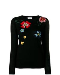 schwarzer Pullover mit einem Rundhalsausschnitt mit Blumenmuster von Sonia Rykiel