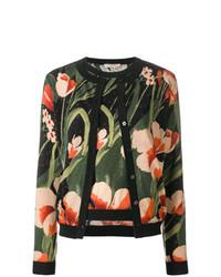 schwarzer Pullover mit einem Rundhalsausschnitt mit Blumenmuster von Twin-Set