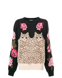 schwarzer Pullover mit einem Rundhalsausschnitt mit Blumenmuster von Vivetta