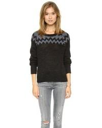 schwarzer Pullover mit einem Rundhalsausschnitt mit Fair Isle-Muster