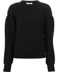 schwarzer Pullover mit einem Rundhalsausschnitt mit Reliefmuster