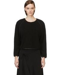 schwarzer Pullover mit einem Rundhalsausschnitt mit Reliefmuster von Avelon