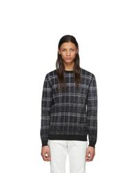 schwarzer Pullover mit einem Rundhalsausschnitt mit Schottenmuster von Fendi