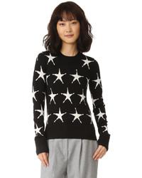 schwarzer Pullover mit einem Rundhalsausschnitt mit Sternenmuster