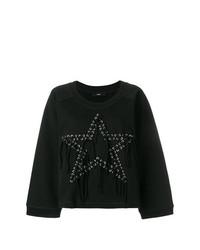 schwarzer Pullover mit einem Rundhalsausschnitt mit Sternenmuster von Diesel