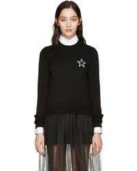 schwarzer Pullover mit einem Rundhalsausschnitt mit Sternenmuster von Givenchy