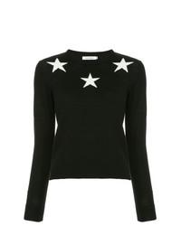 schwarzer Pullover mit einem Rundhalsausschnitt mit Sternenmuster von GUILD PRIME