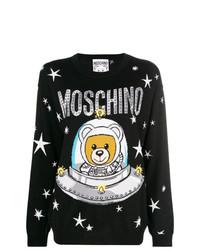schwarzer Pullover mit einem Rundhalsausschnitt mit Sternenmuster von Moschino