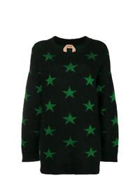 schwarzer Pullover mit einem Rundhalsausschnitt mit Sternenmuster von N°21