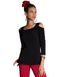 schwarzer Pullover mit einem Rundhalsausschnitt von ALESSA W.