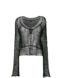 schwarzer Pullover mit einem Rundhalsausschnitt von Ann Demeulemeester