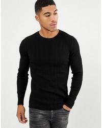 schwarzer Pullover mit einem Rundhalsausschnitt von ASOS DESIGN