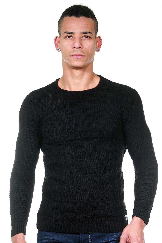 schwarzer Pullover mit einem Rundhalsausschnitt von BULLFROG